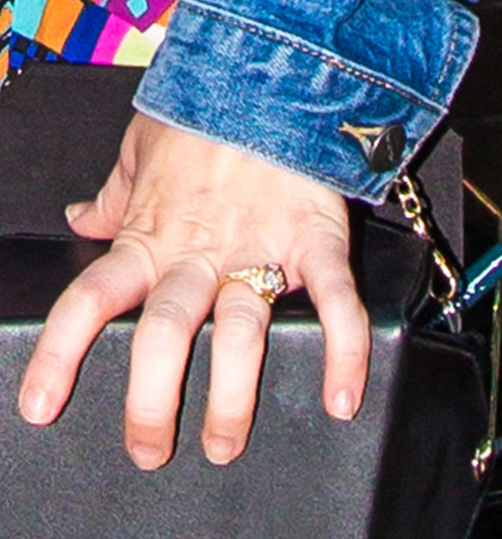 miley cyrus wearing 100 000 engagement ring on