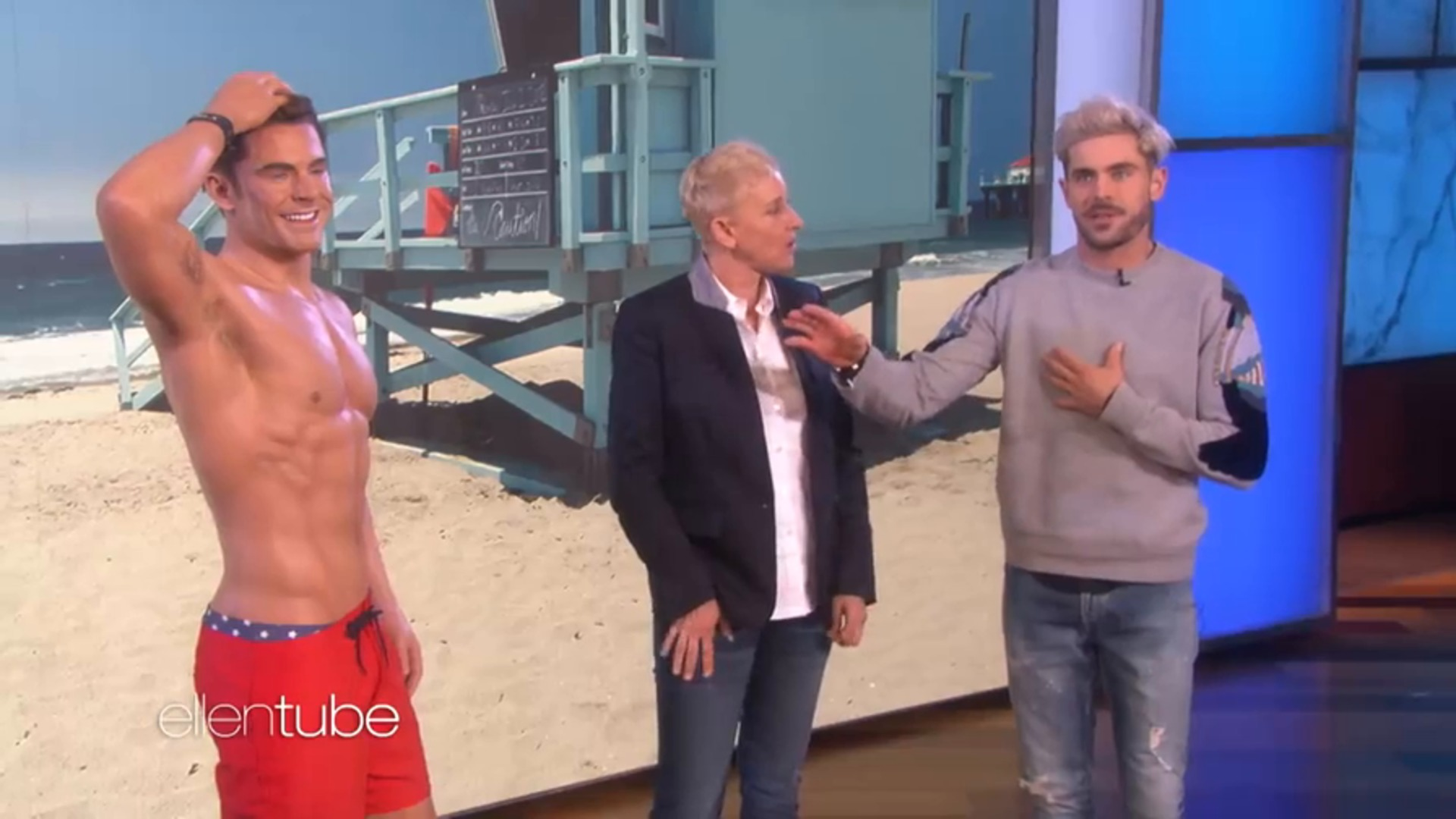 Watch Zac Efron Compares His Abs To His Wax Figure S On Ellen