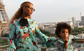 Beyonce and daughter Blue Ivy wear matching Gucci dresses in Paris
