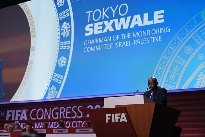 Tokyo Sexwale on stage talking on the Monitoring Committee Israel-Palestine