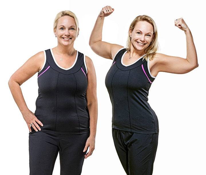 A before after of a middle aged woman who has left weight